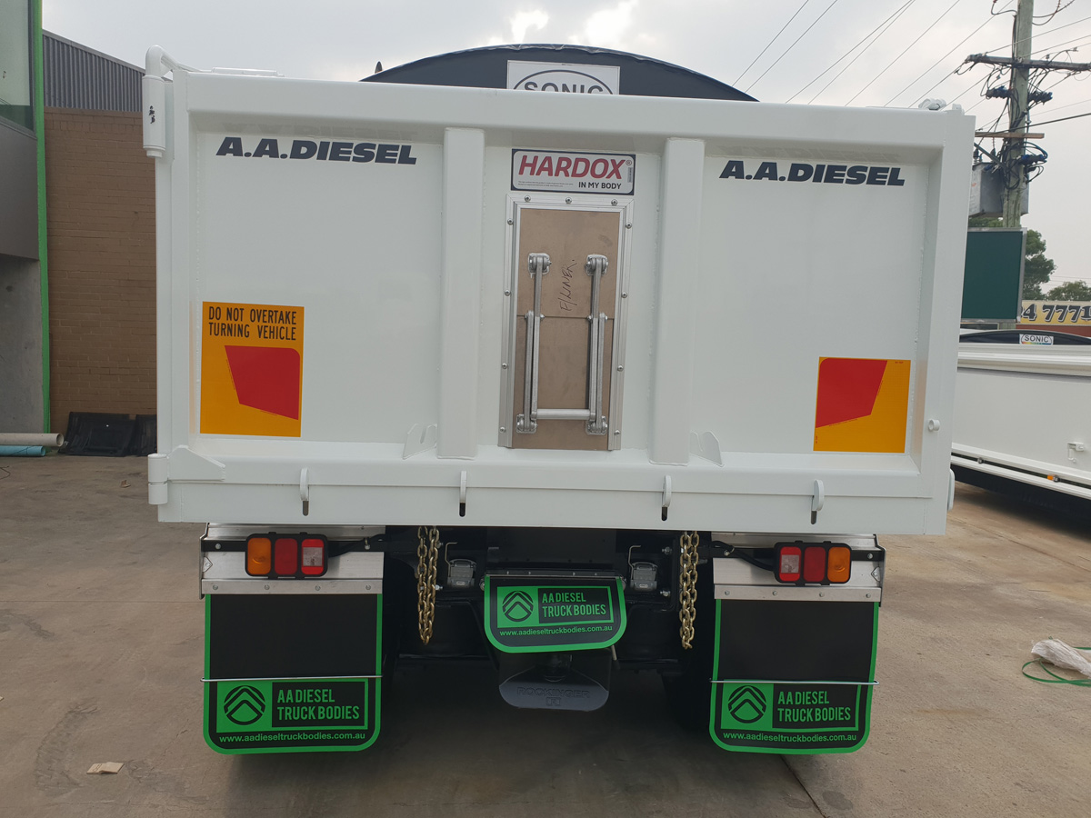 Back of tipper truck body with hardox decal