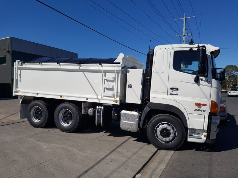 Hino truck with tipping tray truck body