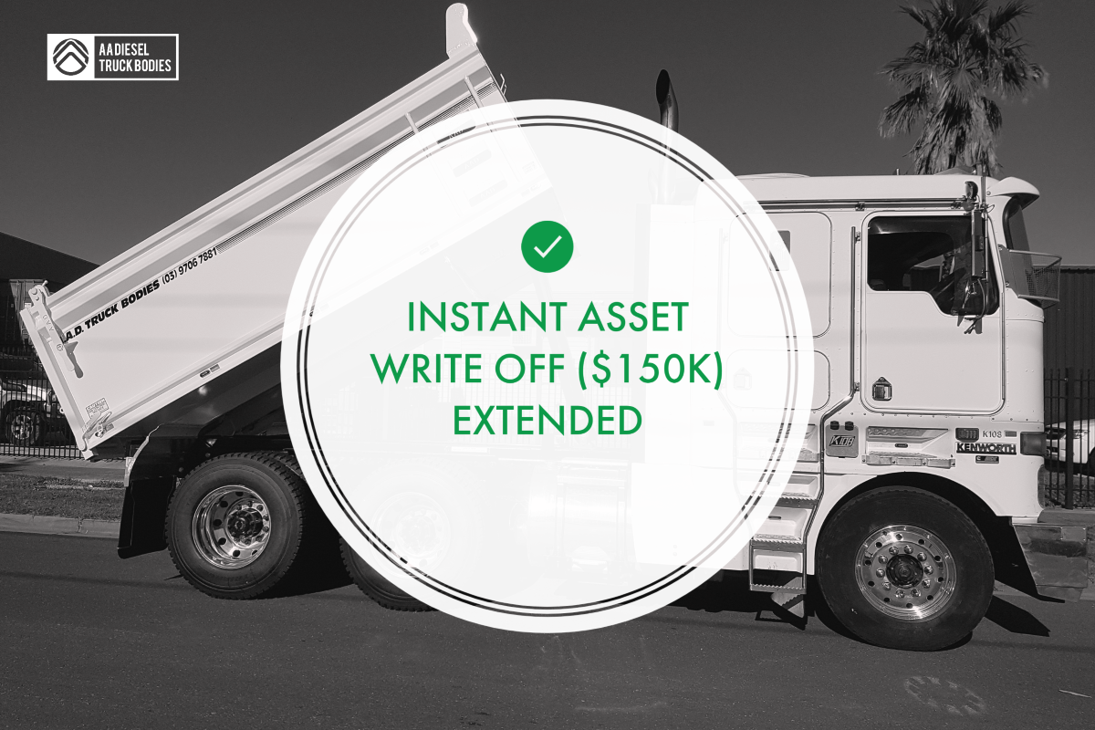 Promotional Image that reads 'Instant Asset Write Off (150K) Extended'